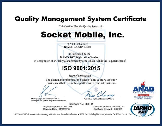 Socket Mobile Iso Certificate