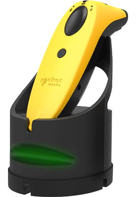 Yellow scanner charging in Charging Dock